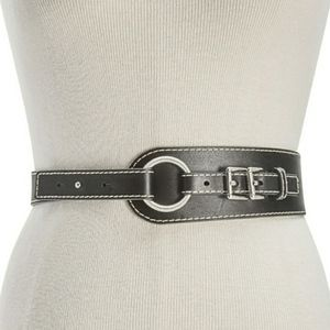 Michael Kors Double Buckle Leather Belt, Black, L